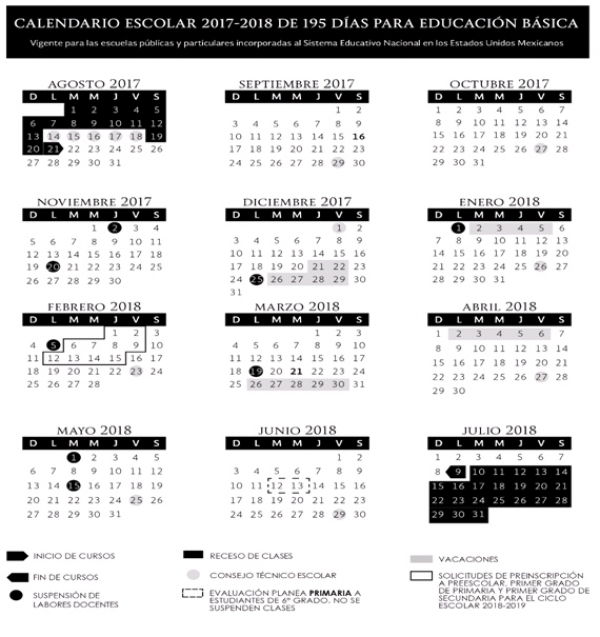 Calendario Escolar 18 19 Puebla.Sep Este Es El Calendario Escolar 2017 2018